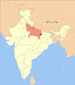 Ghazipur na mapě Indie/ Ghazipur on India Map