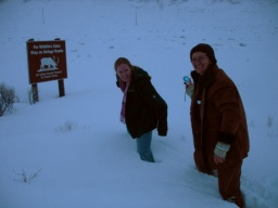 <div>Brodily jsme se sněhem, abychom se mohly vyfotit s cedulí s jelenem.</div>